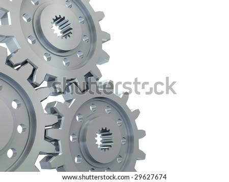 3d illustration of gear wheels at left side on white background