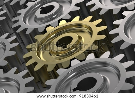 3d illustration of gear wheels system. gear wheels abstract background - stock photo