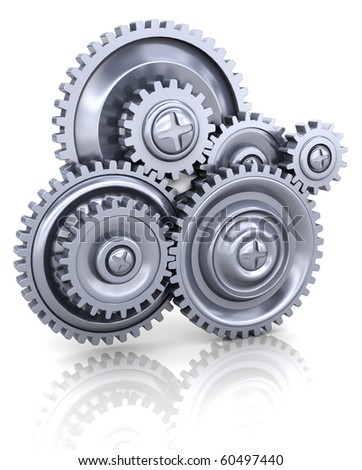 3d illustration of gear wheels system over white background