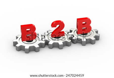 3d illustration of gears and b2b business to business concept - stock photo