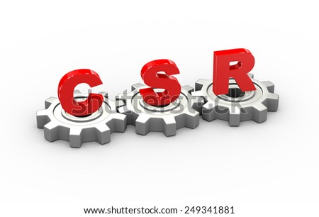 3d illustration of gears and csr corporate social responsibility concept - stock photo