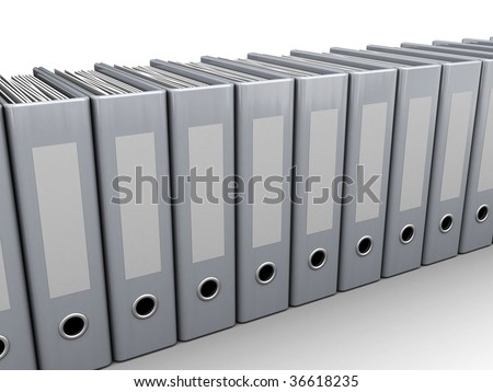 3d illustration of generic archive folders row