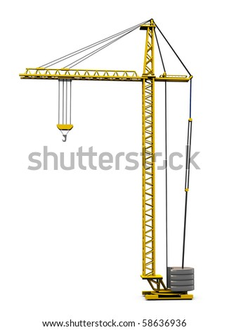 3d illustration of generic building crane isolated over white background - stock photo