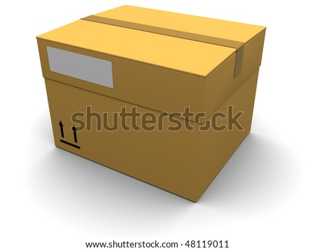3d illustration of generic cargo box over white background