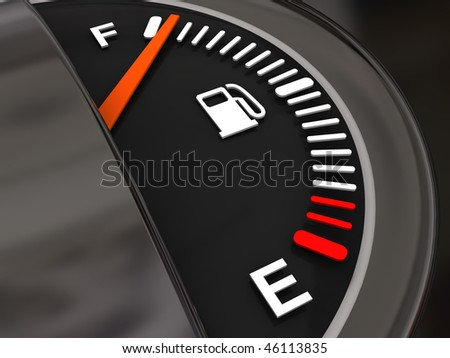 3d illustration of generic fuel meter with full of fuel