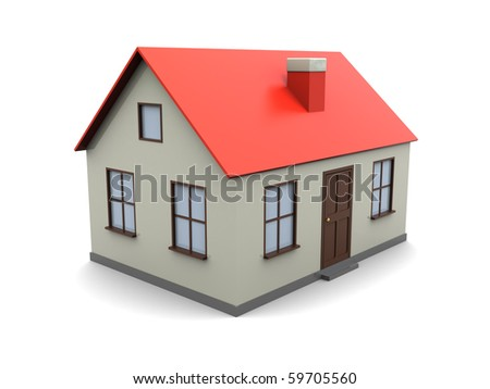 3d illustration of generic house model over white background - stock photo