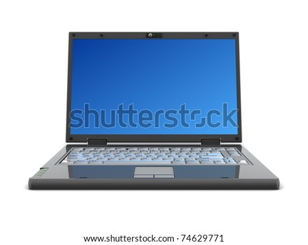 3d illustration of generic laptop computer, over white background - stock photo