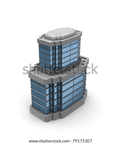 3d illustration  of generic office building over white background - stock photo