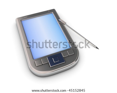 3d illustration of generic pda over white background