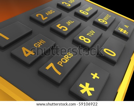 3d illustration of generic phone keyboard over black background