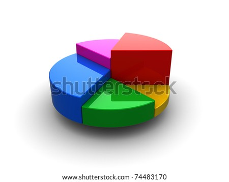 3d illustration of generic pie chart over white background