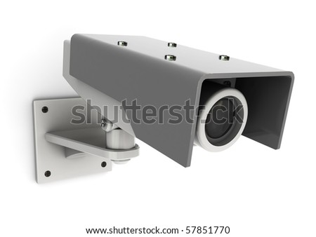 3d illustration of generic security camera mounted on white wall - stock photo