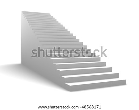 3d illustration of generic stairway over white background - stock photo