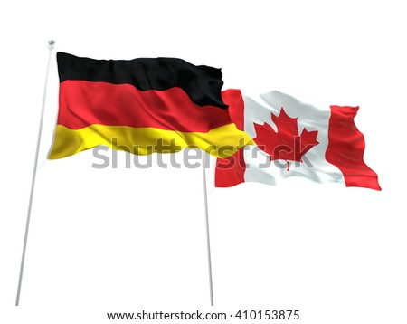 3D illustration of Germany & Canada Flags are waving on the isolated white background - stock photo