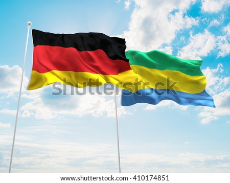3D illustration of Germany & Gabon Flags are waving in the sky