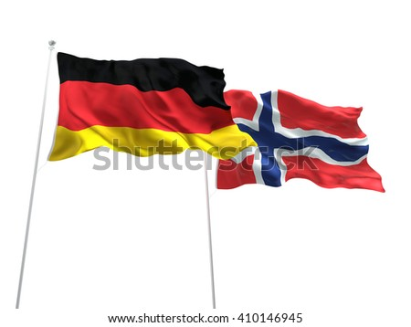 3D illustration of Germany & Norway Flags are waving on the isolated white background - stock photo
