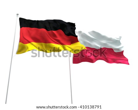 3D illustration of Germany & Poland Flags are waving on the isolated white background - stock photo