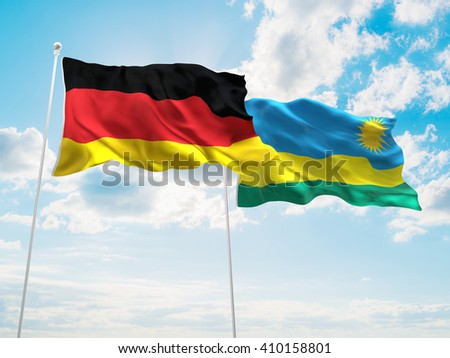 3D illustration of Germany & Rwanda Flags are waving in the sky