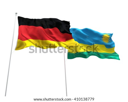 3D illustration of Germany & Rwanda Flags are waving on the isolated white background