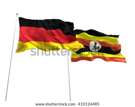 3D illustration of Germany & Uganda Flags are waving on the isolated white background - stock photo