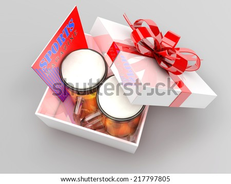 3d illustration of gift box with beer mugs and sports magazine, concept for bachelor party, fun holiday presents for men. - stock photo