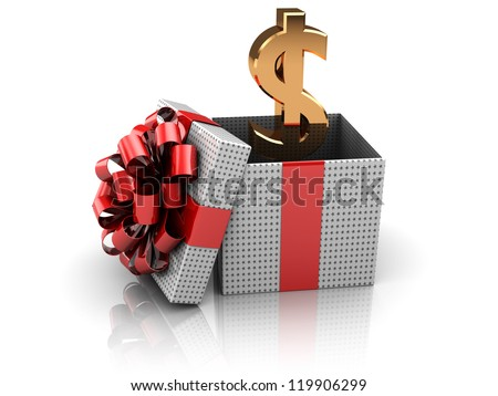 3d illustration of gift box with golden dollar sign inside - stock photo