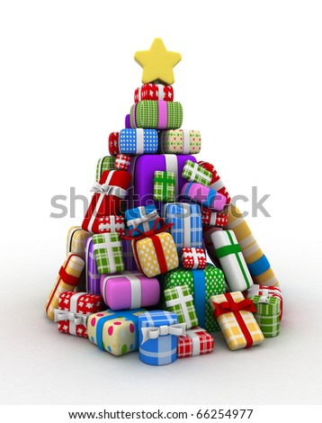 3D Illustration of Gifts Forming the Shape of a Christmas Tree - stock photo