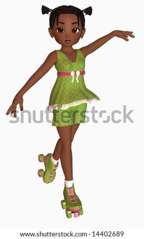 3d illustration of girl on roller-skates - stock photo