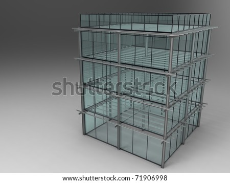 3d illustration of glass and steel building sketch on grey background - stock photo