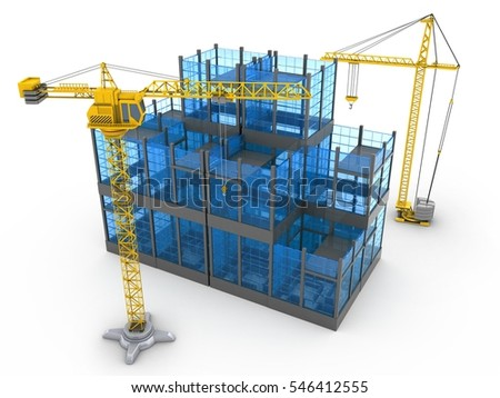3d illustration of glass building over white background with crane