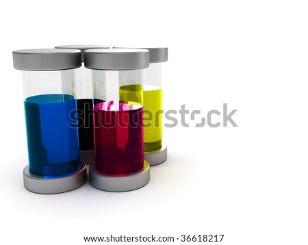 3d illustration of glass containers with cmyk ink - stock photo