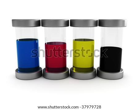 3d illustration of glass tubes with cmyk ink - stock photo