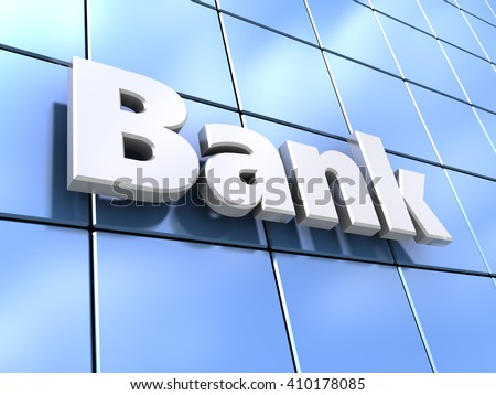3d illustration of glass wall facade with bank sign on it - stock photo