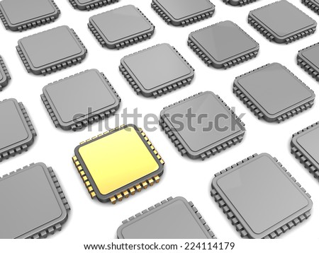 3d illustration of gloden chip and many others - stock photo