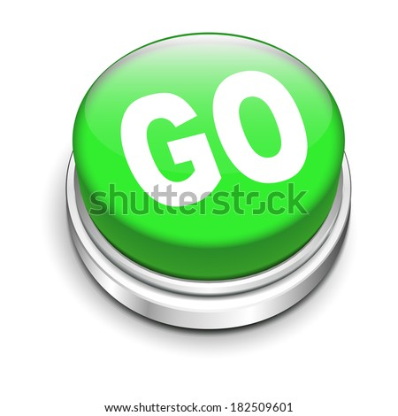 3d illustration of go button isolated white background - stock photo