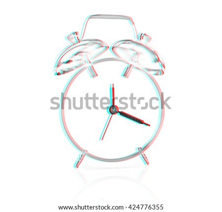 3D illustration of gold alarm clock icon on a white background. Pencil drawing. 3D illustration. Anaglyph. View with red/cyan glasses to see in 3D. - stock photo