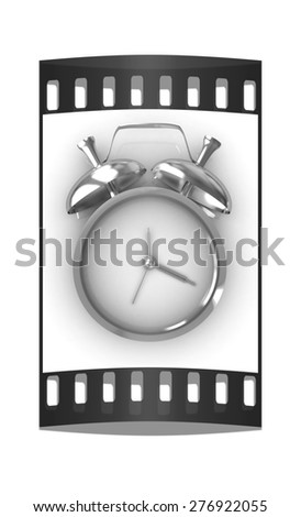 3D illustration of gold alarm clock icon on a white background. The film strip - stock photo