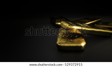 3D illustration of gold bullion bars over black background with copyspace on the left,  horizontal image. Gold market concept.