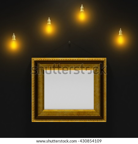 3d illustration of gold empty frame on the black wall