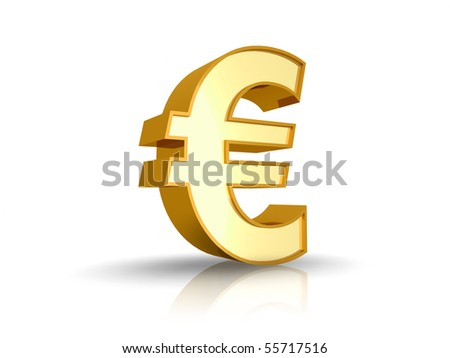 3D illustration of gold euro sign, isolated on white background - stock photo