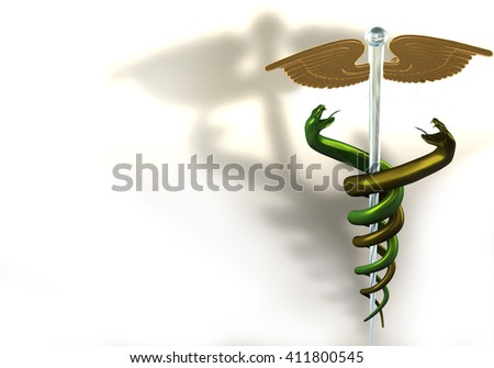 3d illustration of gold/glass caduceus on white background - stock photo