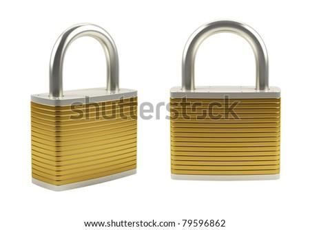 3d illustration of gold padlock isolated on white - stock photo
