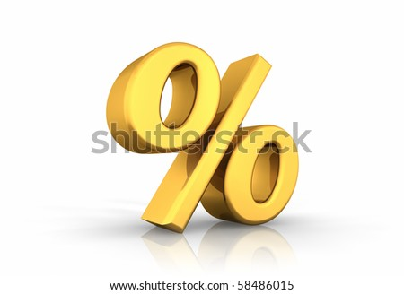 3D illustration of gold percent, isolated on white background