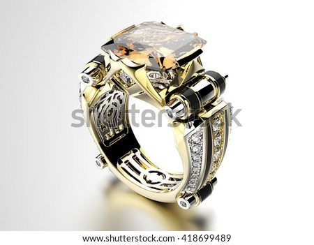 3D illustration of gold Ring with Cognac Diamond. Jewelry background. Fashion accessory