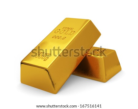 3d illustration of golden bars isolated on white background. Finance concept - stock photo