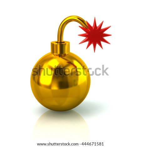 3d illustration of golden bomb with burning wick isolated on white background - stock photo