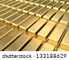 3d illustration of golden bricks background - stock photo