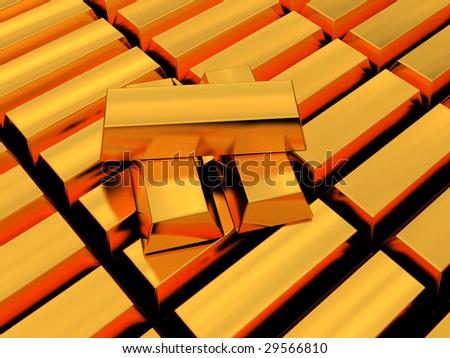 3d illustration of golden bricks background - stock photo