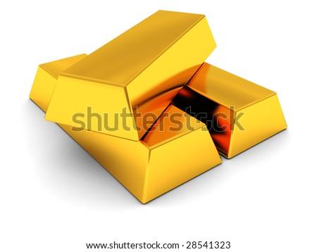 3d illustration of golden bricks over white background - stock photo