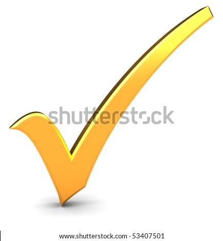 3d illustration of golden check mark over white background - stock photo